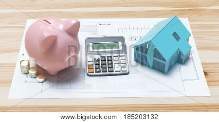 Building projects with house, piggy bank and calculator, 3d render illustration