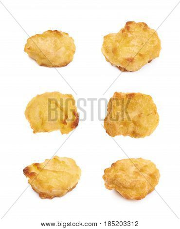 Breaded chicken nugget isolated over the white background, set of six different foreshortenings