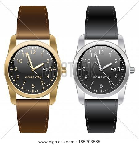 Classic gold and silver wrist watch. Brown and black strap on white background vector illustration.