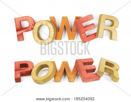 Word Power made of colored with paint wooden letters, composition isolated over the white background, set of two different foreshortenings