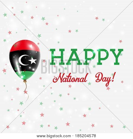 Libya National Day Patriotic Poster. Flying Rubber Balloon In Colors Of The Libyan Flag. Libya Natio