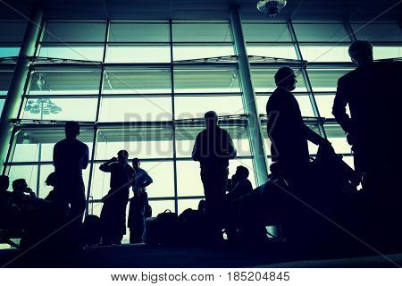 City life, blurred people walking on the airport Antalya 2015