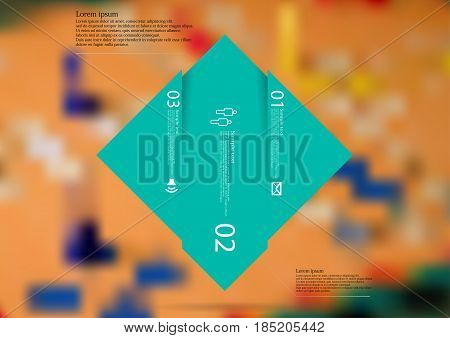 Illustration infographic template with motif of rhombus vertically divided to three shifted blue sections with simple sign number and sample text. Blurred photo is used as background.