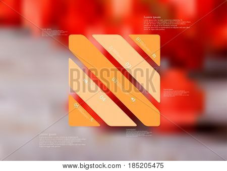 Illustration infographic template with motif of rectangle askew divided to five standalone orange sections with simple sign number and sample text. Blurred photo is used as background.