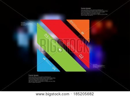 Illustration infographic template with motif of rectangle askew divided to four standalone color sections with simple sign number and sample text. Blurred photo is used as background.