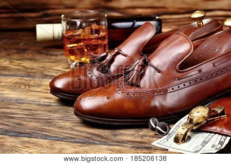 Brown Brogues. Men's Accessroies,golden Watch,leather Potmone Wallet With Money .bottle And Glas Of