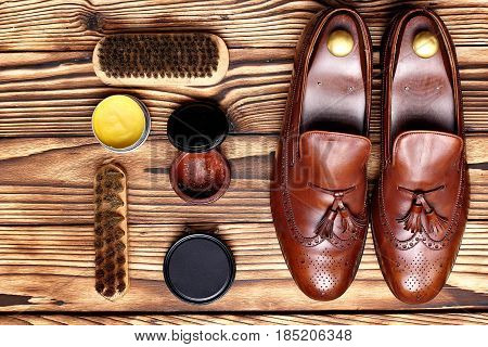 Leather Shoes Brogues Loafers With Shoe Maintenance Set.shoes Care.copy Space.top View