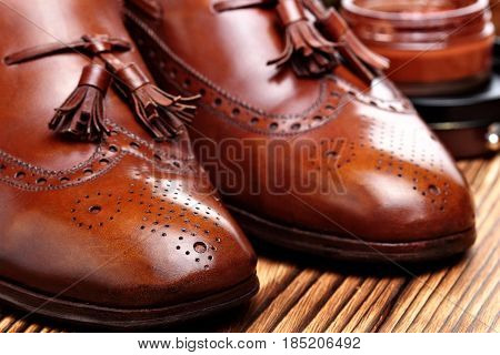 Leather Shoes Brogues Loafers With Shoe Maintenance Set.shoes Care.copy Space.closeup