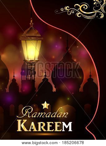 Vector illustration Silhouette of mosque and magic glass light on dark background in paper window with arabic swirls