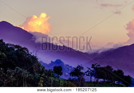 Purple mountain landscape in Minca in Colombia