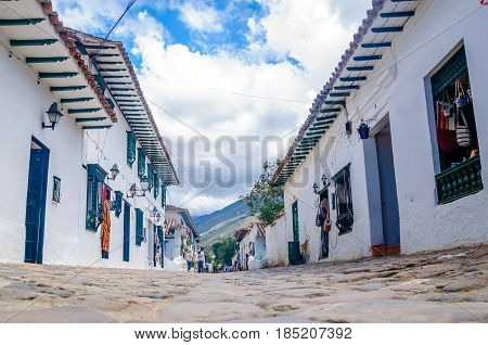White Colonial buildings in Villa de Leyva in Colombia