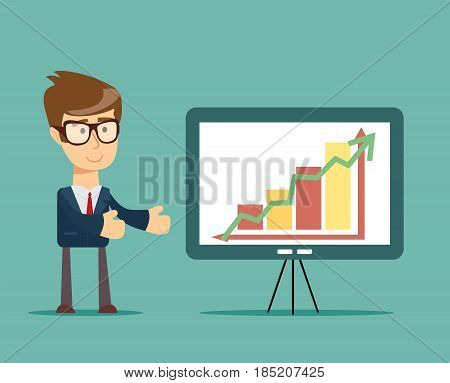 Businessman showing presentation. Stock vector illustration for poster, greeting card, website, ad, business presentation, advertisement design
