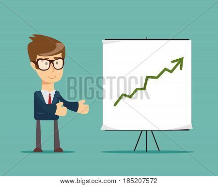 businessman and growth chart on board . Stock vector illustration for poster, greeting card, website, ad, business presentation, advertisement design.