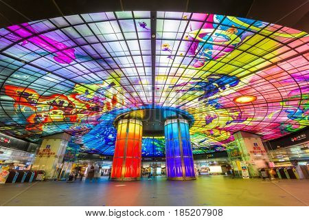 KAOHSIUNG, TAIWAN - MARCH 12, 2017: The Dome of Light at Formosa Boulevard Station. It is considered the largest glasswork in the world.
