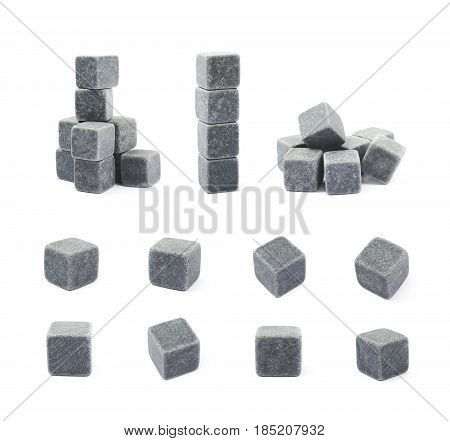 Set of multiple cooling whiskey stone cube compositions isolated over the white background