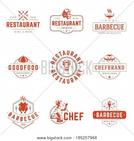 Restaurant logos templates vector objects set. Logotypes or badges Design. Trendy retro style illustration, Chef Woman, Barbecue, Pizza silhouettes.