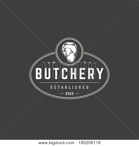 Butchery shop logo template vector object for logotype or badge Design. Trendy retro style illustration, Meat steak silhouette.
