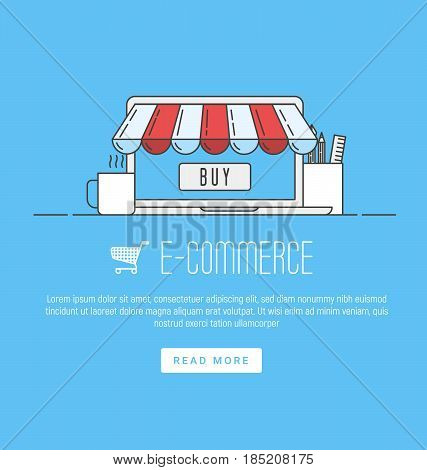 E-commerce, pay online and online shopping concept. Infographic concept with place for text