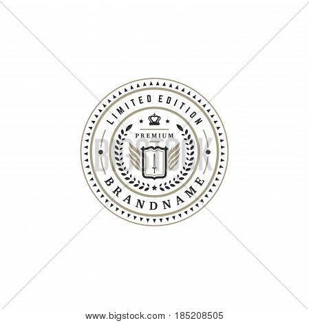 Luxury logo template vector object for logotype or badge Design. Trendy vintage royal style illustration, good for fashion boutique, alcohol or hotel brand. poster