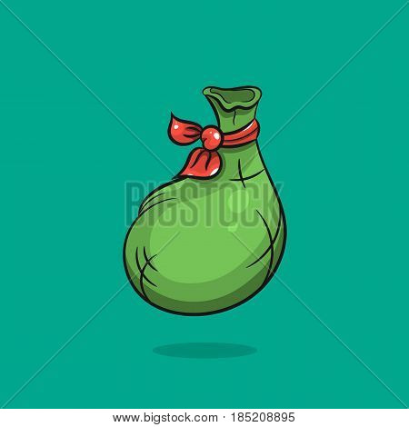 Bag hand draw illustration on green background. Sack logo - stock vector