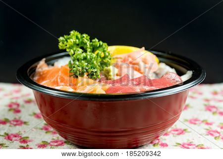 japanese food Mix Sashimi Chirashi Rice Bowl