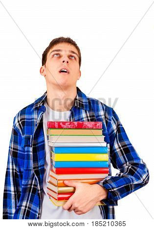 Tired Student with the Books Isolated on the White Background