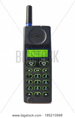 Old used cell phone, isolated white background, inscription inserd card on the screen