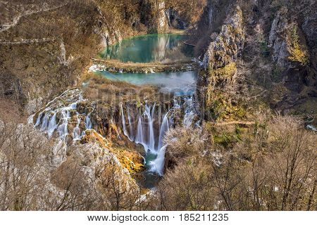 Breathtaking view of the most famous waterfalls in Plitvice national park, Croatia