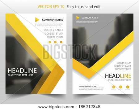 Yellow abstract triangle annual report Brochure design template vector. Business Flyers infographic magazine poster.Abstract layout template Book Cover presentation portfolio.