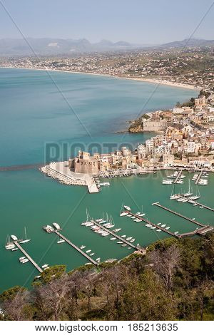 An aerial view on the coastal town of Castellammare del Golfo on the mediterranean sea in northern Sicily Italy