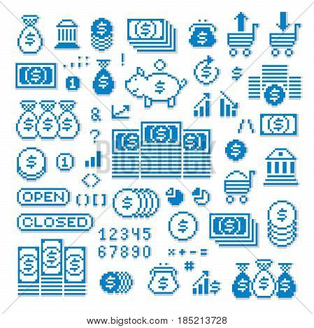 Vector pixel icons isolated collection of 8bit graphic elements. Simplistic digital signs created in business and finance theme.