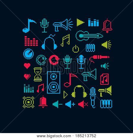 Set of vector musical notes retro signs made in pixel art style. Music theme geometric pixilated symbols.