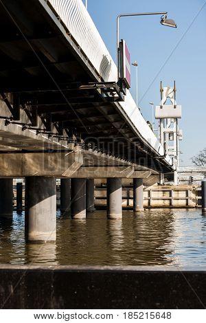 Details of architecture built city bridge between Kampen and IJsselmuiden Overijssel in the Netherlands