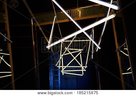 Design solution with fluorescent lamps cool shade. Abstraction