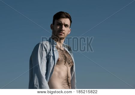 Guy Posing In Unbutton Shirt With Hairy, Naked Torso