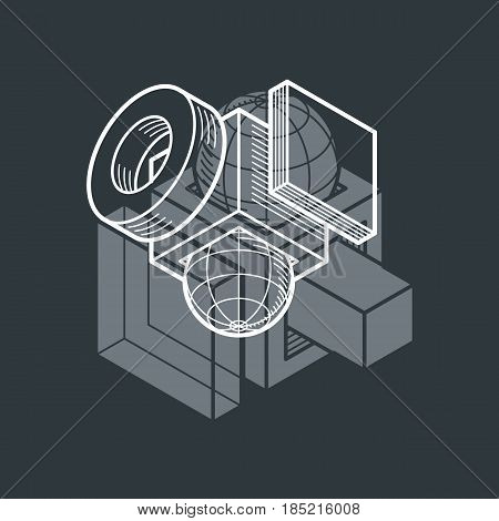 Abstract Vector Geometric Form, 3D Polygonal Shape.