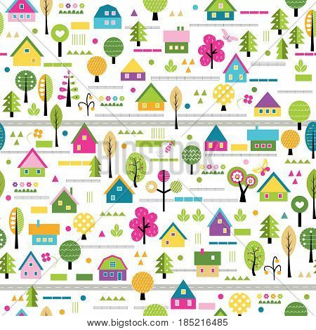 happy village pattern with houses, trees and flowers on white background