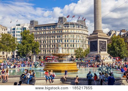 City View Of Trafalgar Square Near The National Gallery And The Nelson Statue