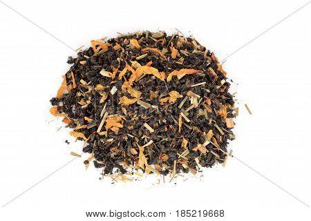 top view pile of herbal organic tea with flower petals