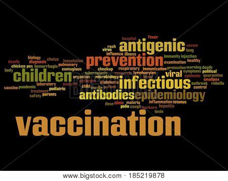 Concept or conceptual children vaccination viral prevention abstract word cloud isolated background. Collage of infectious antigenic, antibodies, epidemiology immunization or inoculation text