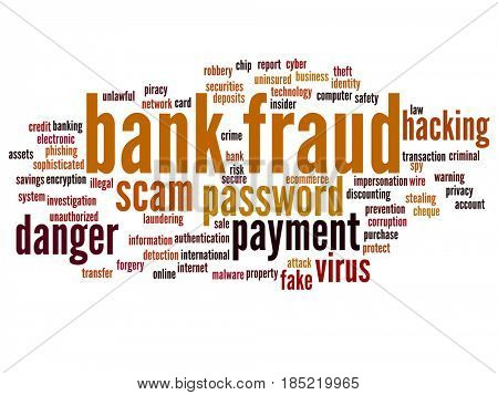 Conceptual bank fraud payment scam danger abstract word cloud isolated background. Collage of password hacking, virus fake authentication crime, illegal transaction identity theft text concept