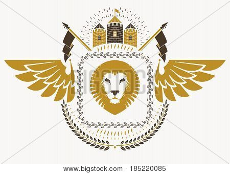 Vintage heraldry design template with bird wings vector emblem created with wild lion illustration and medieval castle.