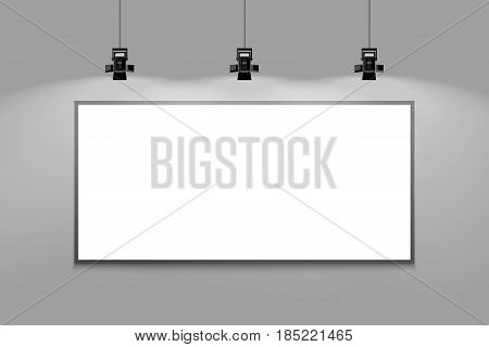 Gray wall template with frame and spotlight. Vector illustration of gallery interior template.