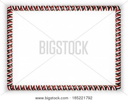 Frame and border of ribbon with the Syria flag edging from the golden rope. 3d illustration