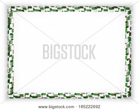 Frame and border of ribbon with the Algeria flag. 3d illustration