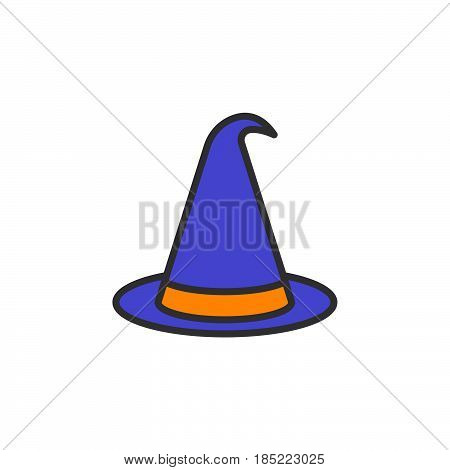 Halloween Witch Hat Line Icon, Filled Outline Vector Sign, Linear Colorful Pictogram Isolated On Whi