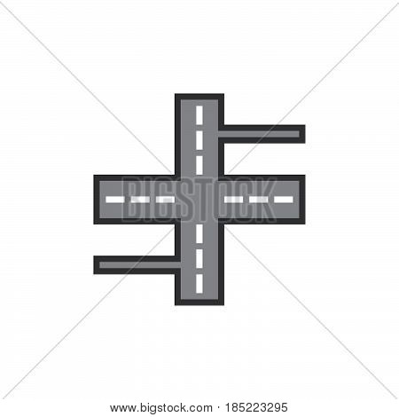 Crossroads Line Icon, Streets Filled Outline Vector Sign, Linear Colorful Pictogram Isolated On Whit