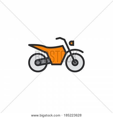 Dirt Bike Line Icon, Motorcycle Filled Outline Vector Sign, Linear Colorful Pictogram Isolated On Wh