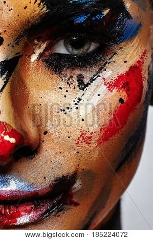 Spooky Clown Halloween creative Make-up for Woman