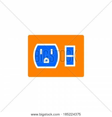 Outlet Switch Icon Vector, Filled Flat Sign, Solid Colorful Pictogram Isolated On White, Logo Illust